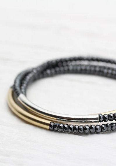 Gold Silver Shiny Bracelet Set / Perfect Stacking