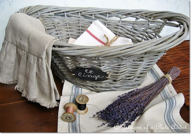 CONFESSIONS OF A PLATE ADDICT: DIY Grey Willow French Laundry Basket
