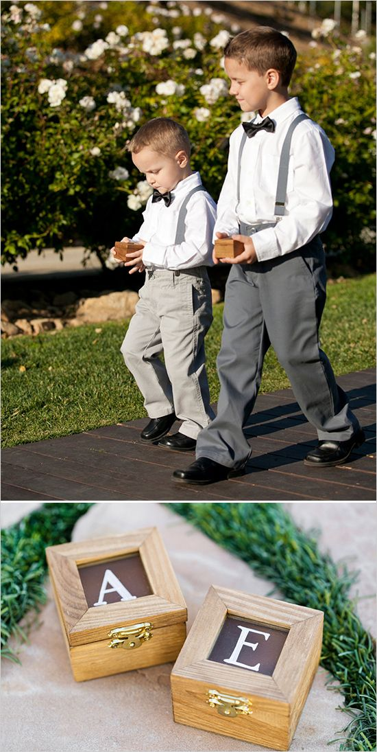 Bow tie and suspender ring bear look with monogrammed boxes to carry rings down the aisle. Captured By: Alyssa Marie Photography ---> http://www.weddingchicks.com/2014/05/09/lucky-penny-wedding-tradition-you-will-love/