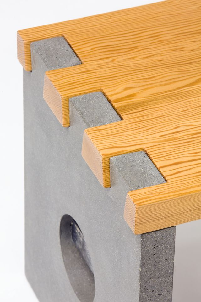 Wood and Concrete Dovetail, great for benches