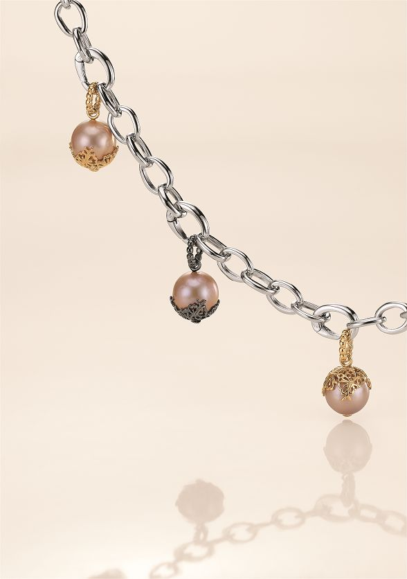 www.blossomcopenhagen.com sterling silver bracelet with pendant all in sterling silver with rose colour freshwater pearls