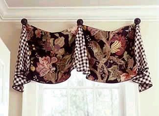 Pleated Valance with Finials by Pate-Meadows Designs...for kitchen with orange/blues with bamboo shades
