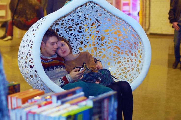 White Manu Nest hanging chair at TKACHI. Furniture by Maffam Freeform