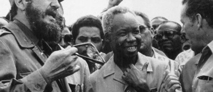 Julius Nyerere with Fidel Castro and a Cuban worker in 1977. Julius Nyerere Archives