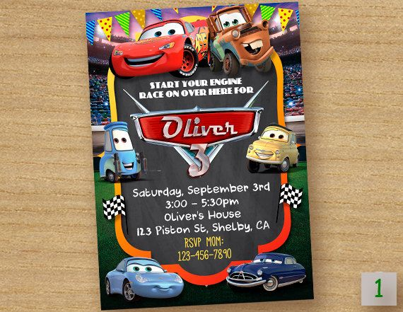 Disney Cars Birthday Invitation ------------------------------------------ Personalized their birthday special with this unique Birthday Party Invitation! This listing is for one digital invitation personalized with your event details. You will receive a printable JPG file via email, no physical items will be shipped. You will be responsible for the printing of your invitations.   How it Works (Easy) ▸ Add item(s) to your cart and complete checkout. ▸ After completing payment, please…