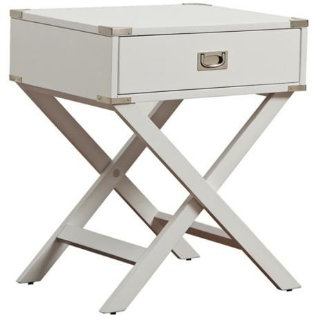 "HomeBelle Jaclyn White Accent TableHomeBelle Jaclyn White Accent Table.  Rectangular accent table. Painted white finish. Nickel hardware. Center drawer for storage. X-design table legs. From the Jaclyn collection. Ready for assembly. 27"" high. 24"" wide. 18"" deep. $189"