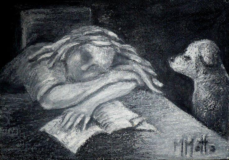 Centinela del sueño Pastel al oleo s/chapadur 30 x 20 cm