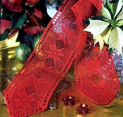 Mille idee perNatale: Striscia rossa a filet con le stelle di Natale
