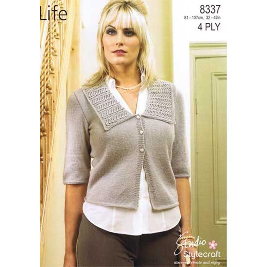 Life 4 Ply Pattern 8337 Cardigan     Sizes 81-107cm, 32-42in