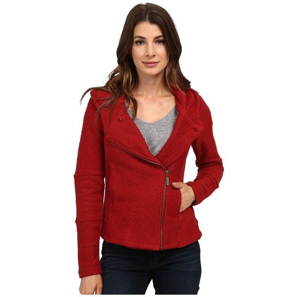 Lucky Brand Hooded Active Jacket Women's Coat ($119) ❤ liked on Polyvore featuring outerwear, coats, red hooded coat, red coat, hooded coats and long sleeve coat