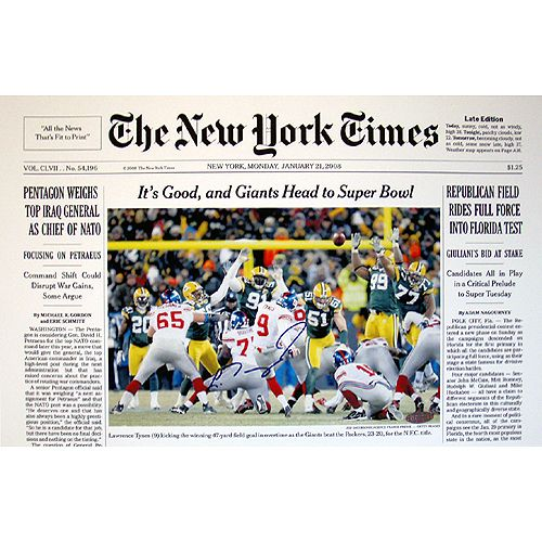 Steiner Lawrence Tynes New York Times Cover 1-21-08 11x17 Photo