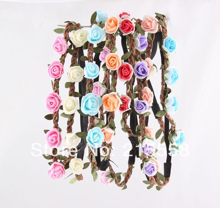Невеста Чешские Цветы Повязка Фестиваль Свадьба Цветочные Гирлянды Волос Группа Головные Уборы Аксессуары для Волос для Женщин Оптовая ZH30