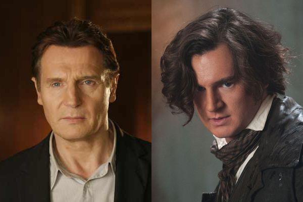 Liam Neeson & Benjamin Walker  Há quem diga que o ator Ralph Fiennes lembra muito o veterano Liam Neeson, que até já passou por situação hilária por conta disso, mas não dá para negar que Benjamin Walker, com 30 anos de separação, também é a cara dele.