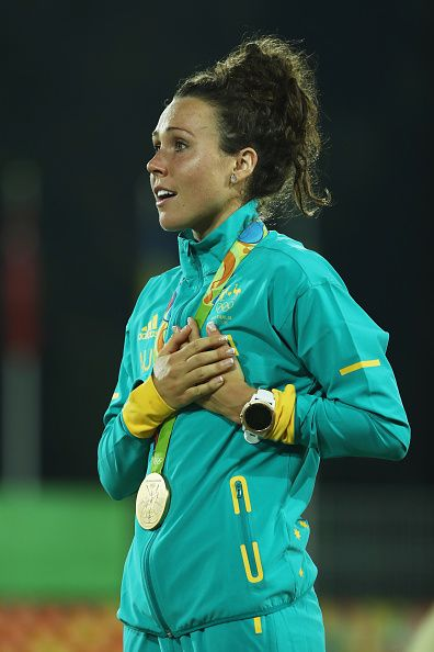 Gold medalist Chloe Esposito of Australia poses on the podium during the medal…
