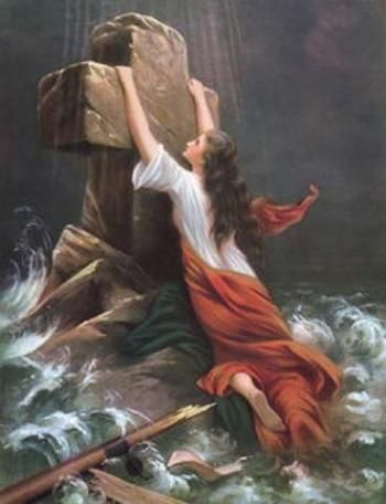 I have a very old copy of this picture. It was given to my great grandma from my great, great grandma..still in the original frame. I love it! (The pictures means: in the storm cling to the cross)