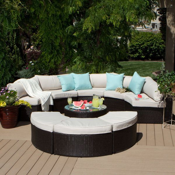 Outdoor Patio Furniture Sectional 9 Piece Rattan Table Ottomans Beige  Cushions #IslaFurniture