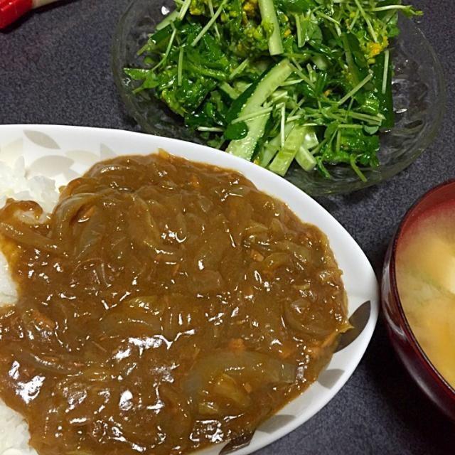 おかわりした - 7件のもぐもぐ - 白菜が溶け込んでるカレー、菜の花豆苗サラダ、豆腐ネギ味噌汁、ライス by ms903