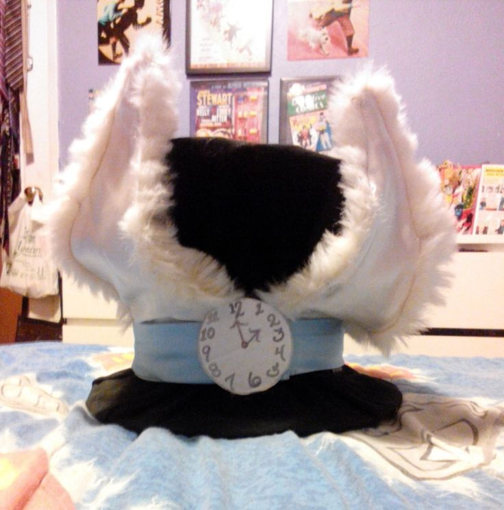 Awesome diy white rabbit hat made from cardboard!!!!!!!!!
