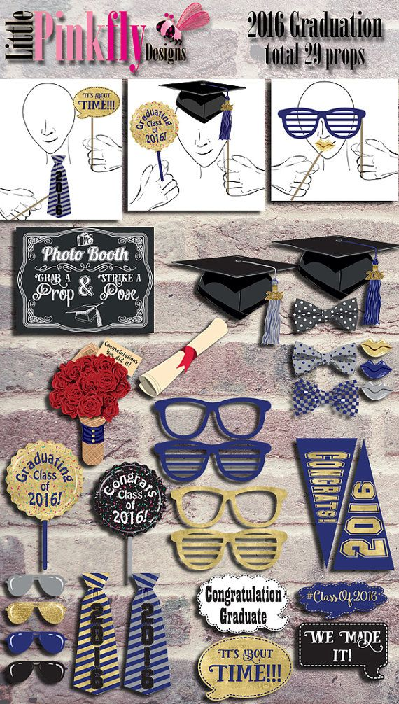 2016 Graduation Photo Booth Props Instant by LittlePinkflyDesigns