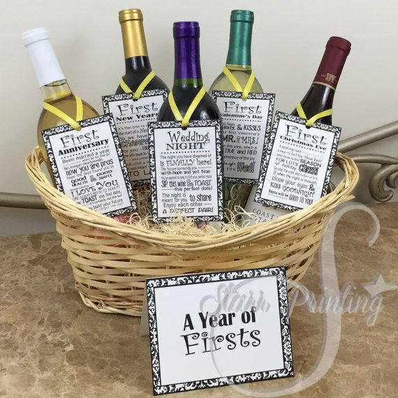 Set bridal shower wine basket gift set with 5 tags and for Bathroom basket ideas for wedding