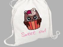 "Worek - plecak bawełniany ""sweet owl"""