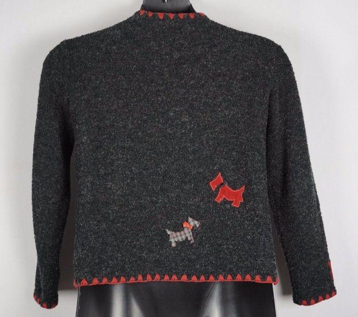 Marisa Christina Scottie Dog Gray Red Wool Blend Button Cardigan Sweater  Small