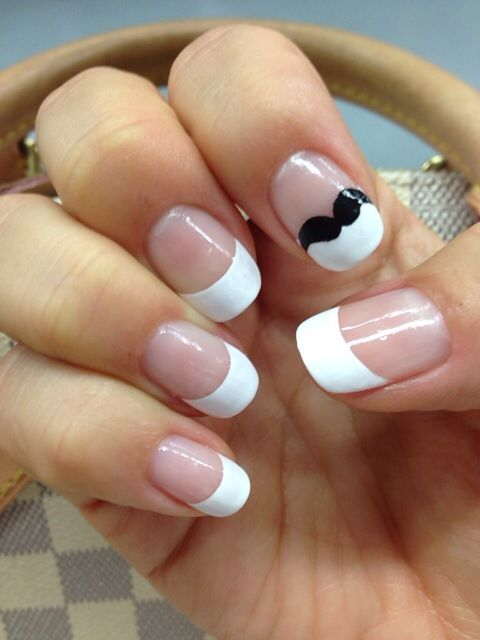 Mustache french tip nail art~
