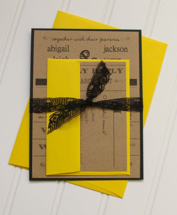 Lace Wedding Invitations Black Lace Canary Yellow by AnnaLouAvenue, $4.90