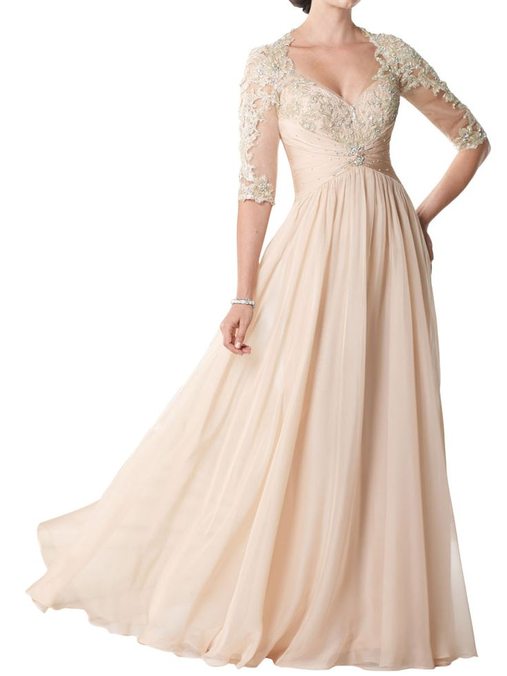 Chiffon pear pink queen anne neckline a line floor length for What to wear to a wedding other than a dress