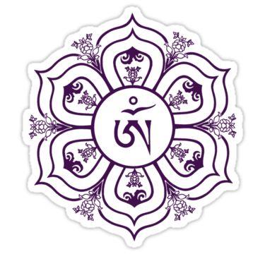 Tibetan Om Symbol In Lotus Throne Mandala Line Drawing By Bodhicittatees