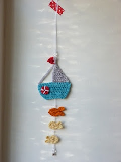 Crocheted saling boat and fish mobile. #crochet #kids #children