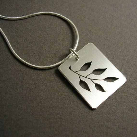 Five Leaf Branch - sterling silver pendant      From AnabellaDesigns