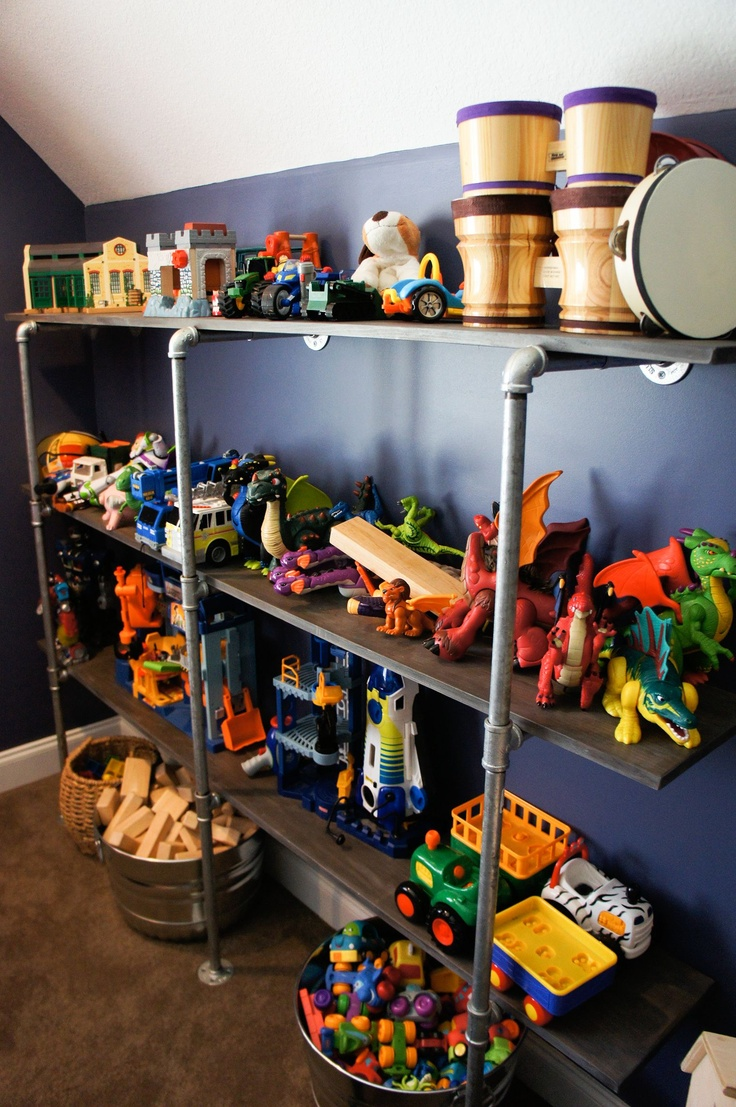 Galvanized Pipe toy Shelving shelf...  galvanized buckets toy storage playroom