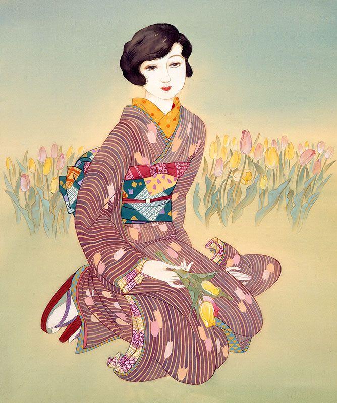 女性イラスト 大正ろまん 和風レトロ チューリップ [Kisho Tsukuda]