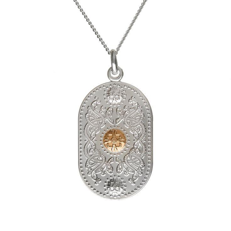 Medium Pendant (25mm Gold Boss) #houseoflor #irishjewelry #irishgold #pendant #sterlingsilver #arda #handmade #celticjewelry