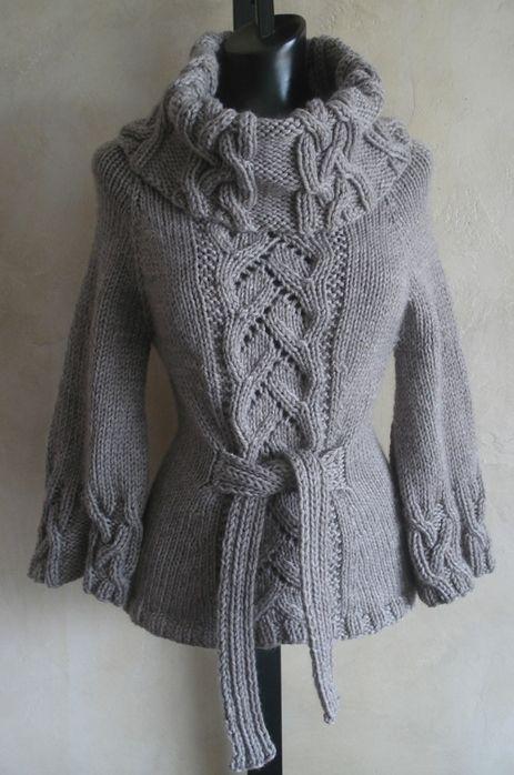 Rukodelki, homemade: Sweater with braids and openwork.  Russian site - use Google Chrome to translate.