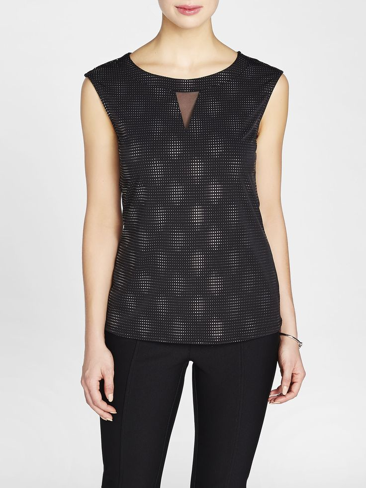 Laura. Round neck with mesh-covered keyhole. Sleeveless. All-over dew drop square details. Pull-on style. Slight stretch. Made in Canada....3030337-0771