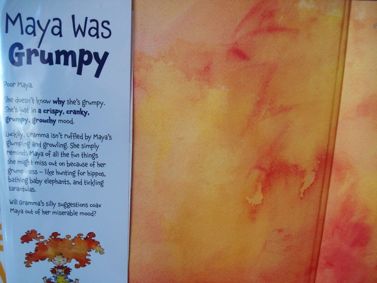 Maya Was Grumpy by Courtney Pippin-Mathur. The same quirky font is used throughout, and while it is fun in the headings and works well in the body text (as this is almost entirely made up of one-liners), when used in a big block such as that on the inside flap, it begins to look inelegant and illegible. The letters look like they're about to do a disturbing dance right off the paper. Less text and more white space could have improved this situation.