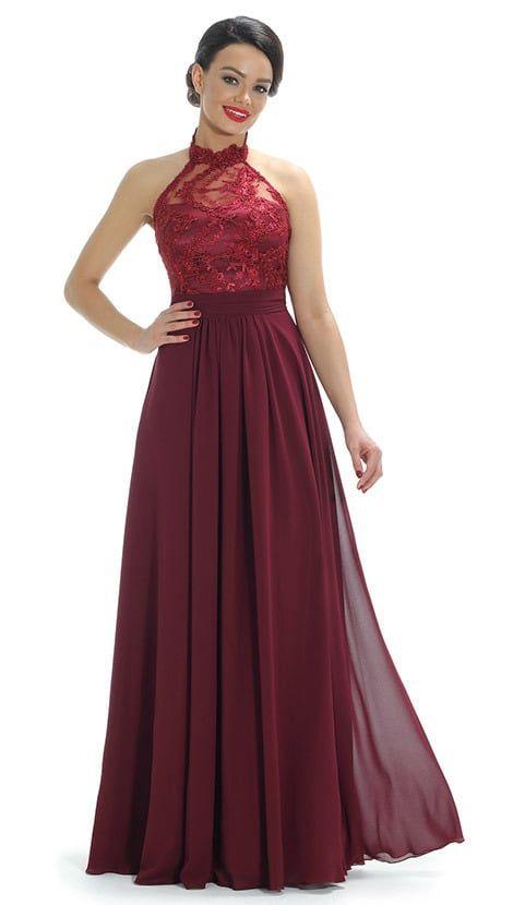 Feestjurken 2019.Ook Leuk Bordeaux Rode Lange Halterjurk 4281 Long Prom Dresses