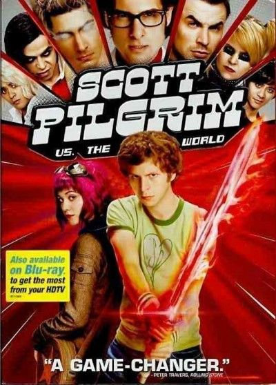 """New DVD: Scott Pilgrim vs. the World / screenplay by Michael Bacall & Edgar Wright ; directed by Edgar Wright, 2010. """"From the genre-smashing director of Hot Fuzz and Shaun of the Dead comes 'a true original' (Entertainment Weekly) powered up by wit, action and groundbreaking visuals that you will want to watch again as soon as it's over!"""""""