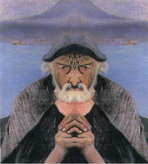 Ha a bal oldalt tükrözzük, ezt kapjuk: Az öreg halász szelíden, békésen ül csónakjában, keze imára kulcsolódik, feje fölött mintha egy angyalt látnánk. A víz tükre és a háttérben lévő tűzhányó is nyugodt.