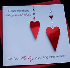 Personalised Handmade Ruby / 40th Wedding Anniversary / Wedding Card