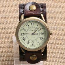 Fashion Brown Retro Roman Numerals Dial Quartz Wrist Watch Bracelet Men Women