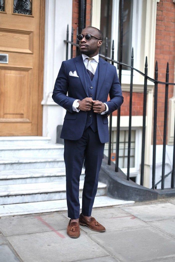 schuhe zu blauem anzug