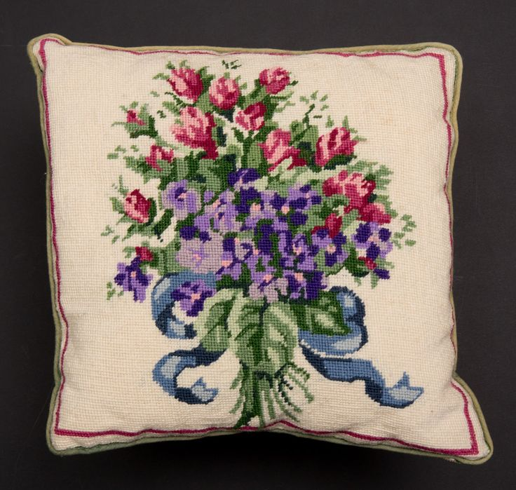 Needlepoint Pillow/Cushion -- Floral Bouquet, handmade, 13 x 13 inches square.  Garage Sale Find $5.