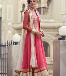 Buy Pink embroidered georgette semi stitched salwar with dupatta collar-neck-design online