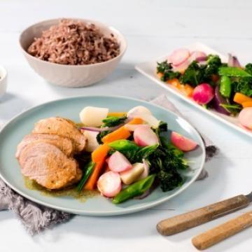 Oppskrift på Svinefilet med smørdampede grønnsaker