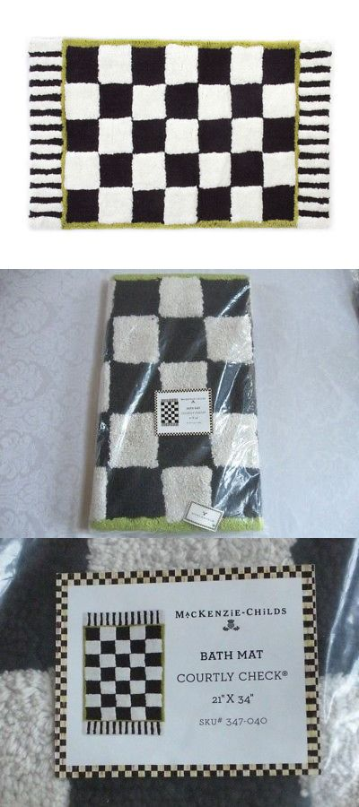 Bathmats Rugs and Toilet Covers 133696: Mackenzie Childs Courtly Check Black White Bath Mat Rug 21 X 34 New Dt17 -> BUY IT NOW ONLY: $75 on eBay!