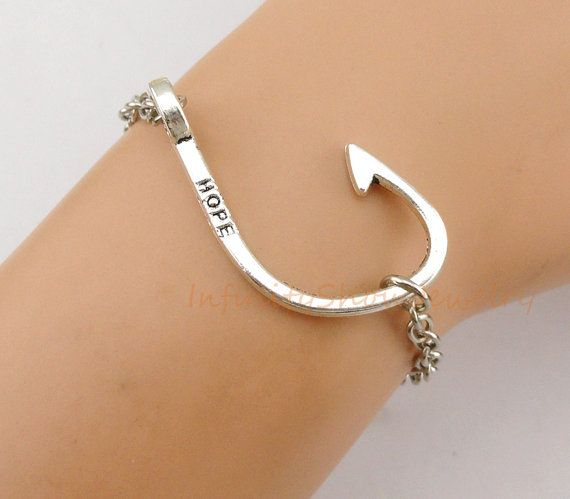 Hope hope bracelet fish hook bracelet hook charm hook for Fish hook charm