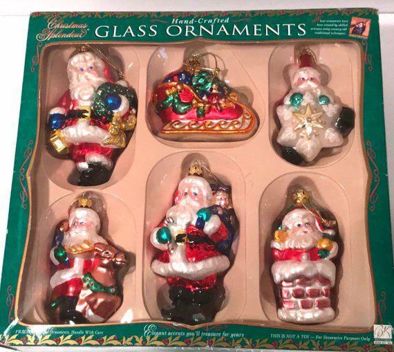 Vintage Santa Claus Christmas Ornaments Set Of 6 Hand Made Glass